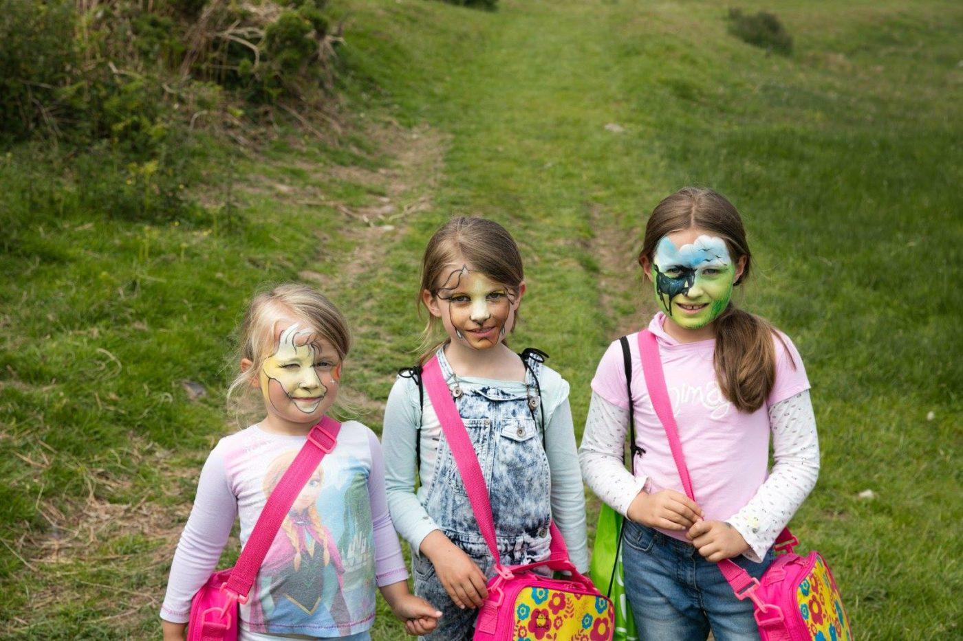 Open Farm Sunday, girls with facepaint